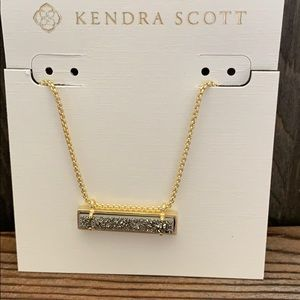 Leanor Gold Pendant Necklace In Platinum Drusy NWT